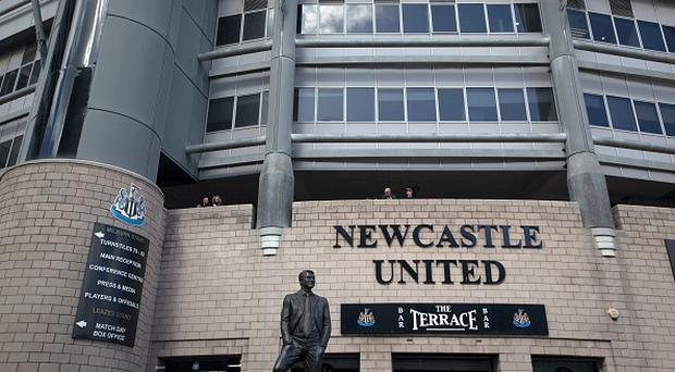 The statue to former manager Sir Bobby Robson, situated outside the Milburn Stand of the stadium at St. James' Park. (Photo by Colin McPherson/Corbis via Getty Images)