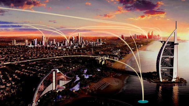 An artists impression of Uber Elevate, the car-hailing app's new planned air taxi service