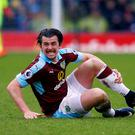 February 12th 2017, Turf Moor, Burnley, Lancashire; EPL Premier league football, Burnley versus Chelsea; Joey Barton of Burnley looks for a decsision as he lies injured on the floor (Photo by Paul Keevil/Action Plus via Getty Images)