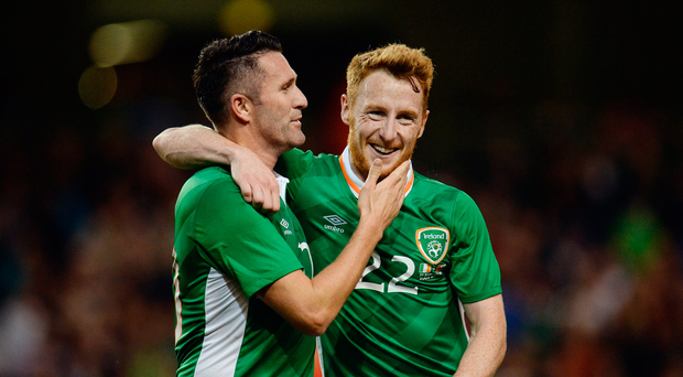 31 August 2016; Republic of Ireland's Robbie Keane, left, and Stephen Quinn, celebrates following their team's third goal, scored by Jonathan Walters, during the Three International Friendly game between the Republic of Ireland and Oman at the Aviva Stadium in Lansdowne Road, Dublin. Photo by Seb Daly/Sportsfile