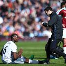 Paul Pogba of Manchester United down injured during the Premier League match between Burnley and Manchester United at Turf Moor on April 23, 2017 in Burnley, England. (Photo by Robbie Jay Barratt - AMA/Getty Images)