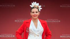 Winner of Wednesday's Bollinger Best Dressed Lady Sophie Edghill from Dunlavin,Wicklow at The Punchestown Irish National Hunt Festival in Punchestown, Kildare. Photo: Gareth Chaney Collins