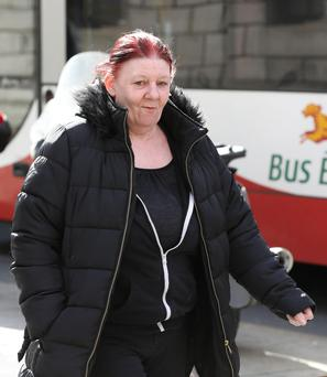 Joanne McDonagh, 60, from Killala Road, Cabra, Dublin, pictured leaving the Four Courts after she appeared before the Dublin District Court.Pic: Collins Courts