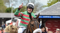 Jockey Ryan Treacy celebrates after winning the Martinstown Opportunity Series Final Handicap Hurdle on Magic of Light at Punchestown Racecourse in Naas, Co. Kildare. Photo by Matt Browne/Sportsfile