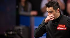 Ronnie O'Sullivan of England reacts during his quarter-finals match against Ding Junhui of China on day eleven of Betfred World Championship 2017 at Crucible Theatre on April 25, 2017 in Sheffield, England. (Photo by VCG/VCG via Getty Images)