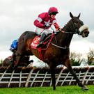 Champagne Classic, right, with Bryan Cooper up, jump the last on their way to winning the Irish Daily Mirror Novice Hurdle at Punchestown Racecourse in Naas, Co. Kildare. Photo by Seb Daly/Sportsfile
