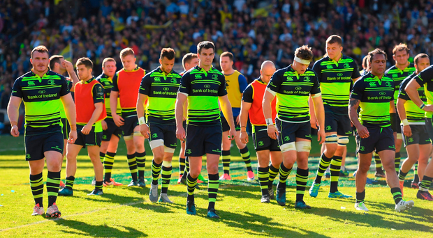 Leinster players leave the field after their Champions Cup semi-final defeat against Clermont last weekend. Photo: Sportsfile
