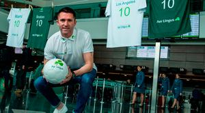 Aer Lingus ambassador, Robbie Keane was at Dublin Airport today to launch Aer Lingus' big North American sale. Photo: David Maher/Sportsfile