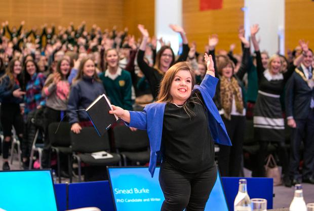 MC Sinead Burke pictured at the Go For it Event in the O'Reilly Hall in UCD. Photo: Kyran O'Brien