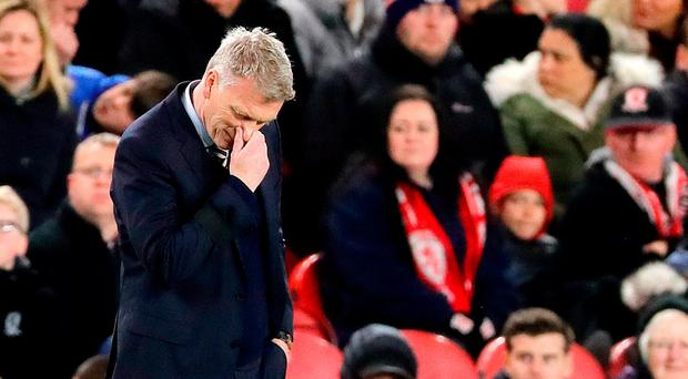 Sunderland manager David Moyes appears dejected during the Premier League match at the Riverside Stadium