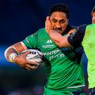 Bundee Aki of Connacht is tackled by Dominic Ryan of Leinster during the Guinness PRO12 Round 20 match between Connacht and Leinster at the Sportsground in Galway