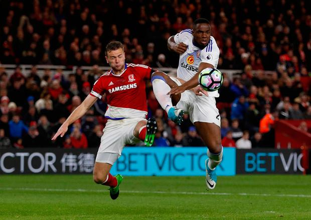 Middlesbrough's Ben Gibson in action with Sunderland's Victor Anichebe. Photo: Lee Smith/Action Images via Reuters