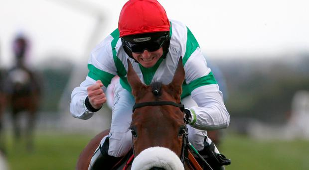 Jamie Codd celebrates winning the Champion INH Flat Race on Fayonagh at Punchestown yesterday. Photo: Getty