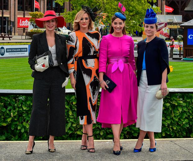 Aisling O'Loughlin, Linda Stinton, Naomi Clarke and Hannah Power, judges of the Bollinger Best Dressed Lady. Photo: Michael Chester