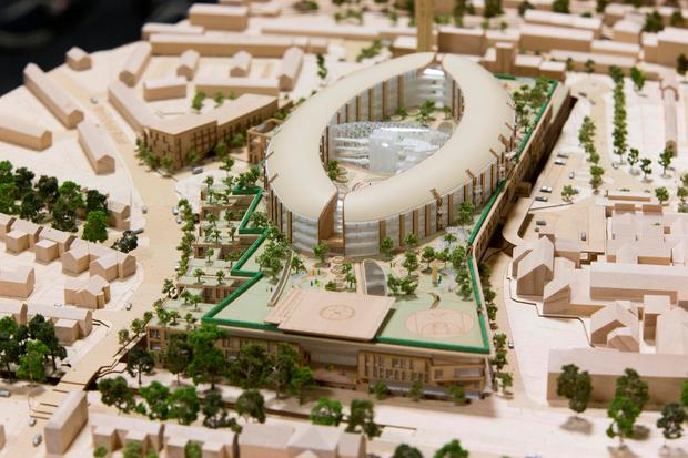 A model of the new children's hospital, which was given the go ahead by the Cabinet yesterday and which will be built on the campus of St James's Hospital. Photo: Colin O'Riordan