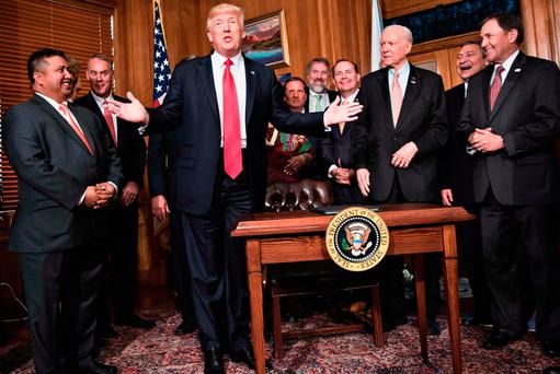 US President Donald Trump speaking after to signing an 'Antiquities Executive Order' in Washington DC yesterday. Photo: Getty