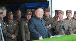 North Korea's leader Kim Jong-un watches a military drill Photo: North Korea's Central News Agency
