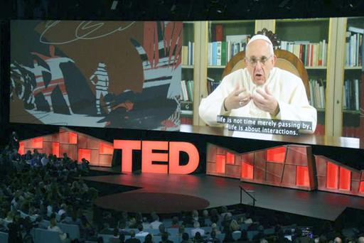 Pope Francis delivers a Ted talk from the Vatican. Photo: Glenn Chapman/AFP/Getty Images