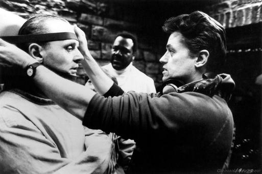 Anthony Hopkins is directed by Jonathan Demme in 'Silence of the Lambs'