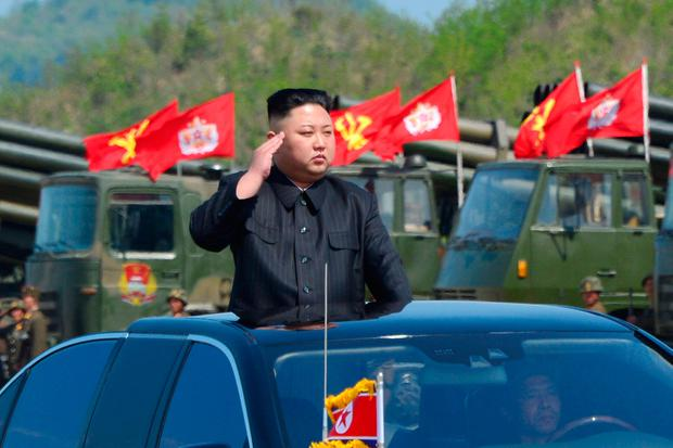 North Korea's leader Kim Jong Un watches a military drill marking the 85th anniversary of the establishment of the Korean People's Army (KPA). Picture: KCNA/Handout via REUTERS