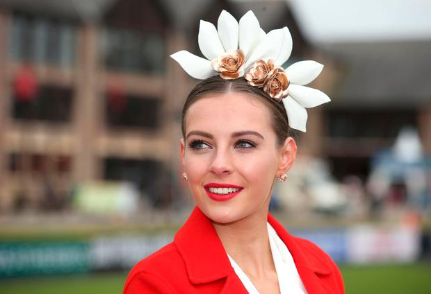 Sophie Edghill, from Dunlavin, Wicklow, the winner of the Bollinger best dressed lady competition at the Punchestown races. Picture: Damien Eagers