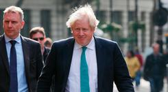 Foreign secretary Boris Johnson arriving at Global Radio in Leicester Square, London, ahead of an interview with LBC. Photo: Yui Mok/PA Wire