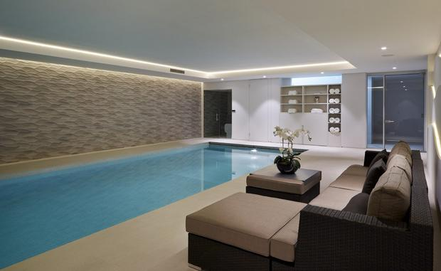 A swimming pool in Cheryl's mansion in Hertfordshire Photo Credit: Godfrey and Barr Estate Agents