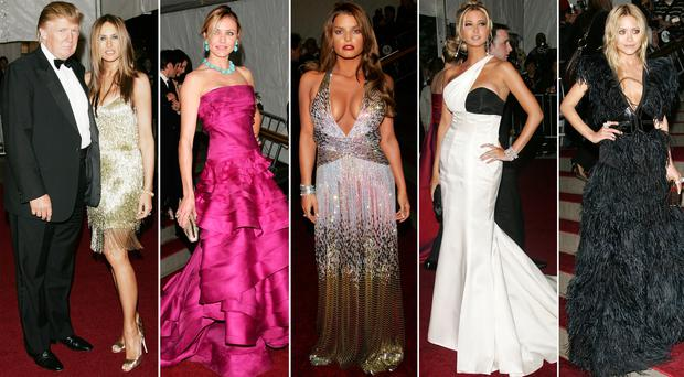 (L to R) Donald and Melania Trump, Cameron Diaz, Jessica Simpson, Ivanka Trump and Mary-Kate Olsen at the 2007 Met Gala