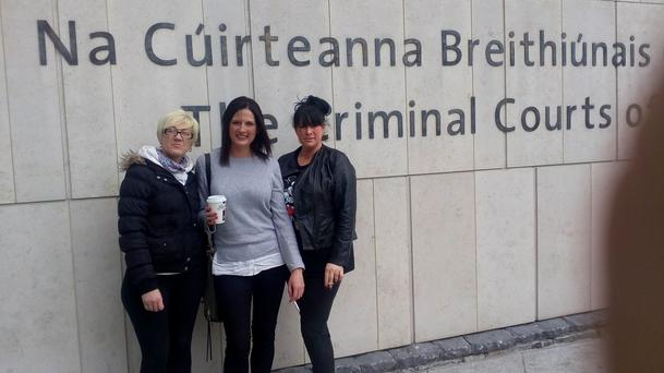 Liz Webster, Ciara Micklethwaite and Sinead Kane outside the Criminal Courts of Justice on Wednesday