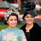 Sarah Cass, left and Orla butler, from Kilkenny at the Punchestown races. Picture: Damien Eagers