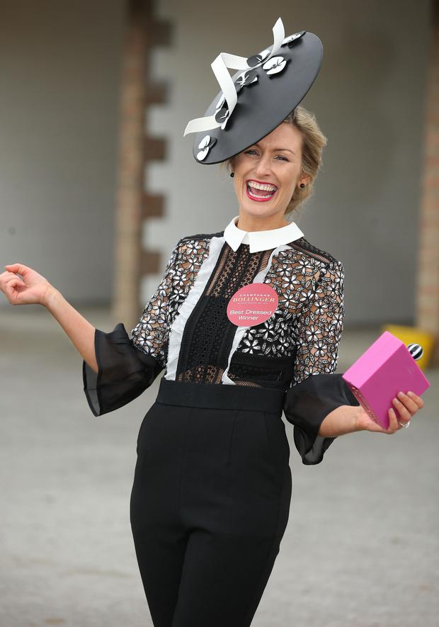 Ann Marie Phelan, from Newbridge, winner of the Bollinger best dressed lady competition at the Punchestown races. Picture credit; Damien Eagers 27/4/2017
