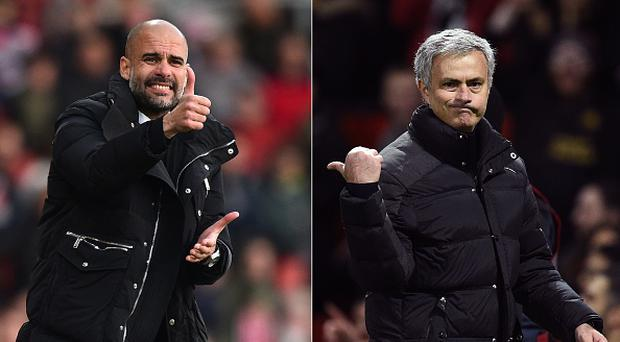A combination of file pictures created in London on April 26, 2017 shows Manchester City's Spanish manager Pep Guardiola (L) and Manchester United's Portuguese manager Jose Mourinho (R) / AFP PHOTO / Glyn KIRK AND Oli SCARFF