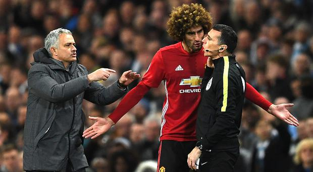 Fellaini was retrained by boss Jose Mourinho as he stormed off the field