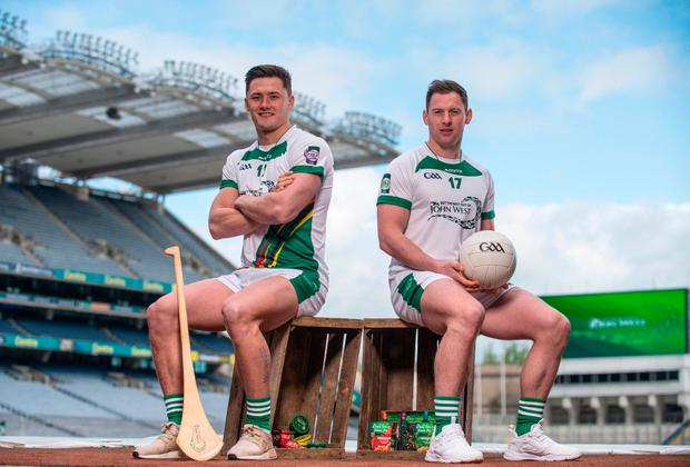 Wexford hurler Lee Chin, left, and Dublin footballer Philly McMahon at the launch of the John West Féile competitions in Croke Park. Photo: Sam Barnes/Sportsfile