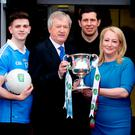 U-21 footballers Cillian O'Shea of Dublin and Michael Daly of Galway with Paraic Duffy, GAA Director General, Tyrone star Sean Cavanagh and Rosemary Steen, Director of External Affairs, EirGrid, ahead of the EirGrid U21 All-Ireland final which will take place tomorrow in O'Connor Park, Tullamore. Photo: Iain White Fennell Photography