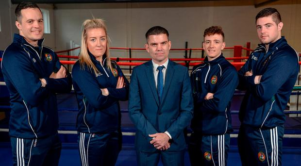 Bernard Dunne, centre, pictured at his announcement as the High Performance Director for Irish Athletic Boxing Association, with boxers, from left, Darren O'Neill, Christina Desmond, Brendan Irvine, and Joe Ward, at the Sport Ireland National Sports Campus in Abbotstown, Dublin. Photo: Seb Daly/Sportsfile