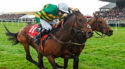 Unowwhatimeanharry and Noel Fehily edge out a partially-hidden Nichols Canyon and Ruby Walsh at Punchestown yesterday. Photo: Sportsfile