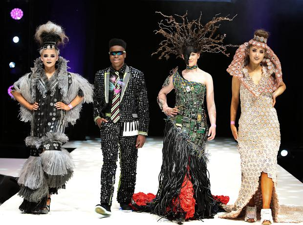Students in recycled outfits on the catwalk during rehearsals at the Junk Kouture Final in the 3Arena. Photo: Brian McEvoy