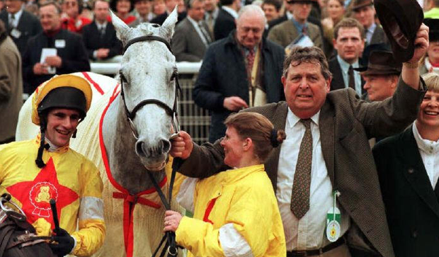Brian Harding (left) with One Man and owner John Hales (right) after their victory in the 1998 Champion Chase. Photo: PA