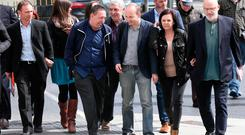 Defendants in the Jobstown trial (Males from left) Kieran Mahon, Michael Banks, Frank Donaghy, Paul Murphy TD, Scott Masterson and Michael Murphy arrive at the Dublin Circuit Criminal Court where they appeared on charges of the false imprisonment of then Tanaiste Joan Burton at a water protest in Jobstown in 2014. Photo: Collins Courts