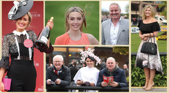 Clockwise from far left: Ann Marie Phelan, from Newbridge, winner of yesterday's Best Dressed competition; RTE's Bláthnaid Treacy; rugby pundit Brent Pope; Aisling O'Brien from Clontarf; and Julie Caulfield, from Wexford with Tony Lahart, right, from Kildare, and Philip Clarke, from Louth. Photos: Damien Eagers