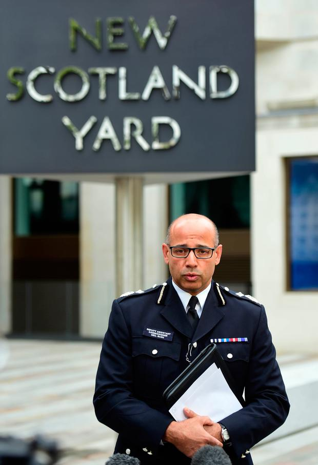 Metropolitan Police Deputy Assistant Commissioner Neil Basu speaks to the media outside New Scotland Yard, London, after a woman in her twenties was shot by police and four people arrested during terror raids in London and Kent