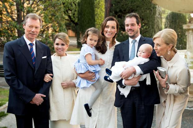 Princess Claire and Prince Felix of Luxembourg celebrated their son Prince Liam's baptism at the Vatican with their daughter Amalia, Grand Duke Henri and Grand Duchess Maria Teresa. Photo: Cour grand-ducale / Lola Velasco