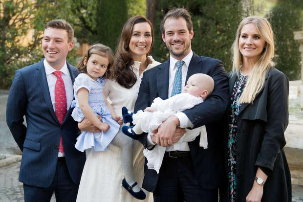 Princess Claire and Prince Felix of Luxembourg celebrated their son Prince Liam's baptism at the Vatican with their daughter Amalia and godparents Prince Sebastien and Anna Maria Pamin. Photo: Cour grand-ducale / Lola Velasco