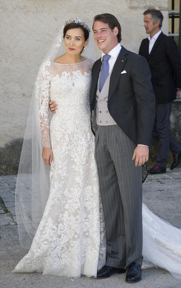 Princess Claire Of Luxembourg and Prince Felix Of Luxembourg depart from their wedding ceremony at the Basilique Sainte Marie-Madeleine on September 21, 2013 in Saint-Maximin-La-Sainte-Baume, France. (Photo by Pascal Le Segretain/Getty Images)