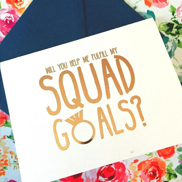 'Squad goals' bridesmaid card by KnottyCards on Etsy.com