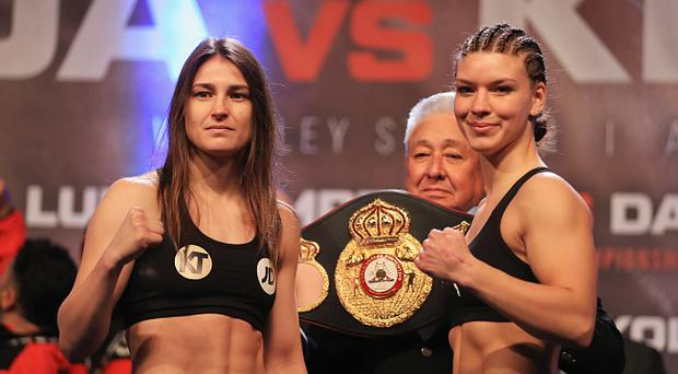 Katie Taylor and Nina Meinke weigh-in prior to their lightweight WBA Inter-Continental contest at Wembley Arena on April 28, 2017 in London, England. (Photo by Richard Heathcote/Getty Images)
