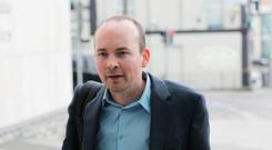 Defendant in the Jobstown trial, Paul Murphy TD (34) of Kingswood Heights, Tallaght, arrives at the Dublin Circuit Criminal Court this morning. Pic Collins Courts
