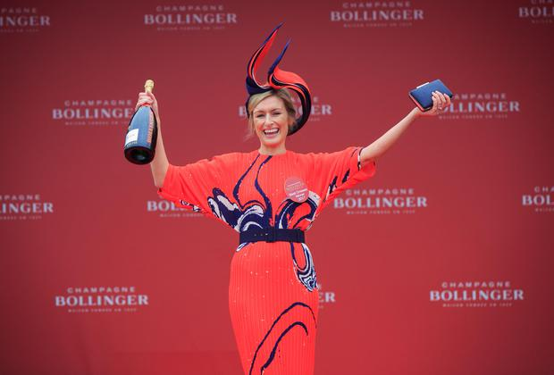 Winner of the Bollinger Best Dresed lady compettition Ann-Maire Phelan from Newbrdige who won a VIP trip for 2 to the Bollinger estate, REims & Paris at The Punchestown Irish National Hunt Festival in Punchestown, Kildare. Photo: Gareth Chaney Collins