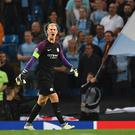 Manchester City's English goalkeeper Joe Hart shouts during the UEFA Champions League second leg play-off football match between Manchester City and Steaua Bucharest at the Etihad Stadium in Manchester, north west England on August 24, 2016. / AFP / Anthony Devlin (Photo credit should read ANTHONY DEVLIN/AFP/Getty Images)